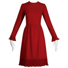 1970s Miss Dior by Phillipe Guiborgé Vintage Red Long Sleeve Dress with Ruffles