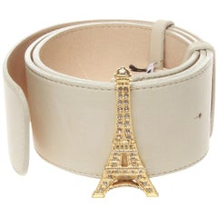 Junko shimada white belt with Eiffel tower buckle