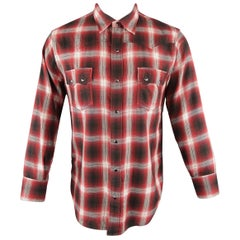 Saint Laurent Red and Black Plaid Cotton Long Sleeve Western Shirt