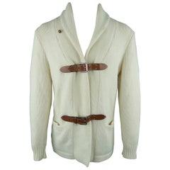 Ralph Lauren Cream Cashmere Shawl Collar Tan Belt Closure Cardigan