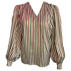 Hermes Vintage Striped Silk Blouse