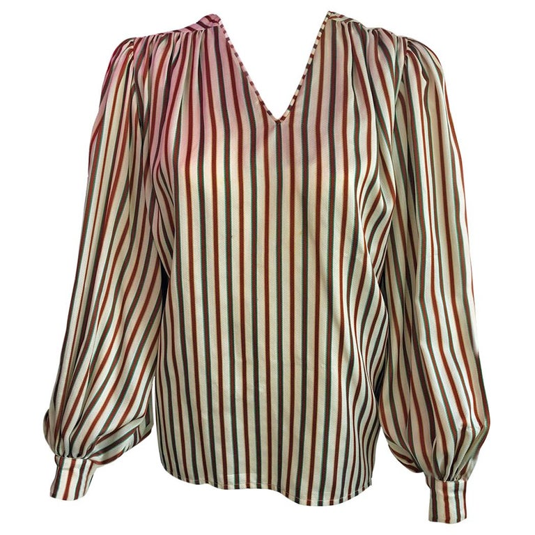 f284a50089cc0 Hermes Vintage Striped Silk Blouse For Sale at 1stdibs