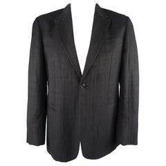 Giorgio Armani Black Herringbone Wool Blend Peak Lapel Sport Coat