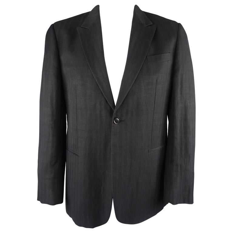02b6b5c5 Giorgio Armani Black Herringbone Wool Blend Peak Lapel Sport Coat