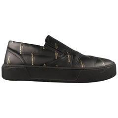 Balenciaga Black and Gold Logo Leather Slip On Sneakers