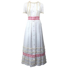 1970s Lori Till White + Pink Lightweight Cotton Lace Vintage Boho 70s Maxi Dress