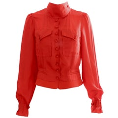 Yves Saint Laurent Rive Gauche Red Silk Blouse with Wrap Mock Neck
