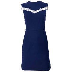 Christian Dior Size 10 Navy Blue + Silver 1960s Style Cut Out Grommet Wool Dress