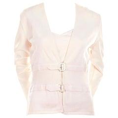 Valentino Ivory Cotton Blend Camisole Cardigan Sweater Set, S / S 2004
