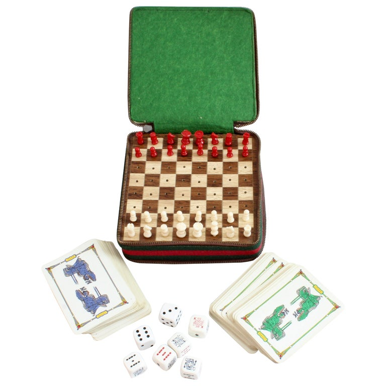 98168c0b6d Gucci Vintage Leather Case with Webbing Poker Dice Cards Chess Travel Game  Set