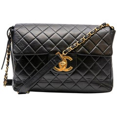 Chanel Black Quilted Leather Vintage Jumbo Bag