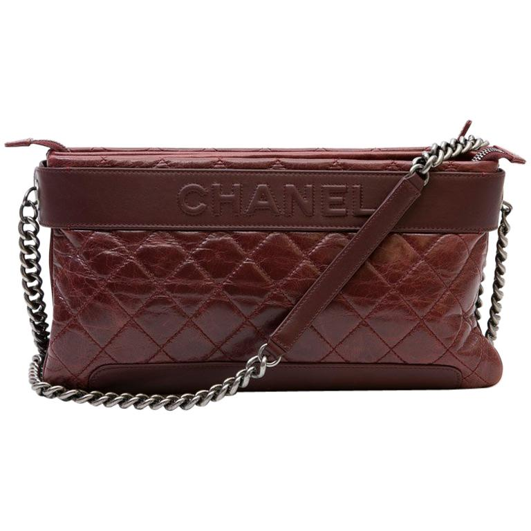 fe4c41c94c4ef5 CHANEL Burgundy Quilted Aged leather Bag For Sale at 1stdibs