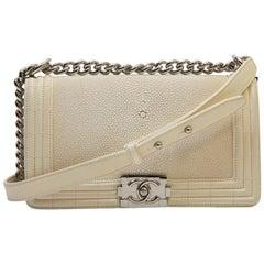 Chanel Ecru Galuchat Medium Size Boy Bag