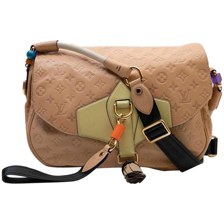 Louis Vuitton Beige Monogram Empreinte Calf Leather Collector Flap Bag For Sale