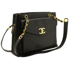 CHANEL Caviar Large Chain Shoulder Bag Black Leather Gold Hardware