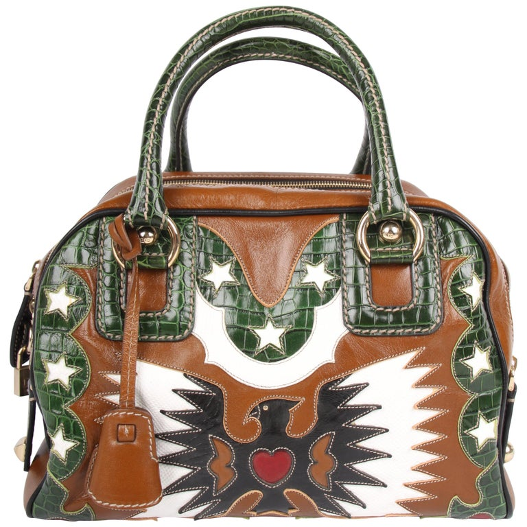 Dolce & Gabbana brown green white Lily Rodeo Bag