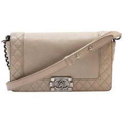 Chanel Beige Leather Boy Bag