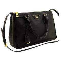 Prada Saffiano Lux Black Leather Gold 2 Way Handbag Shoulder Bag