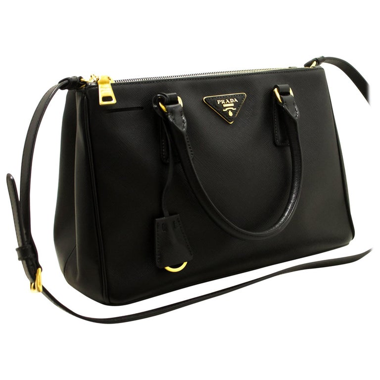75ecad2bc9 Prada Saffiano Lux Black Leather Gold 2 Way Handbag Shoulder Bag For Sale