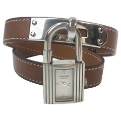 Hermes Stainless Steel Kelly double Barénia Calfskin bracelet Quartz wristwatch