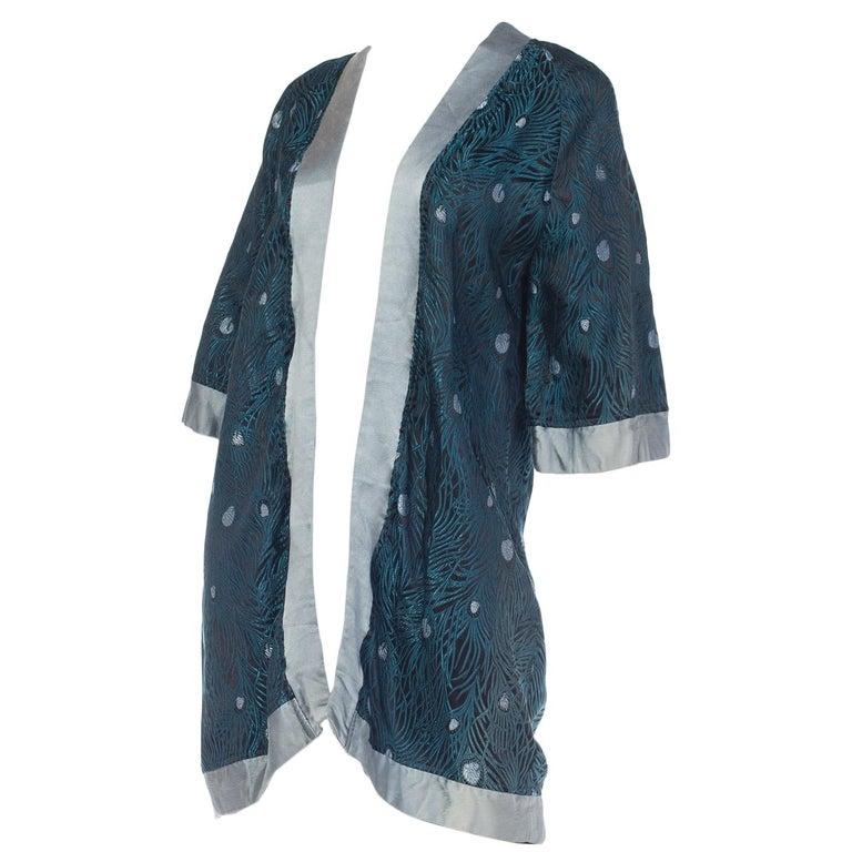 Peacock Feather Jacquard Kimono Jacket