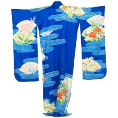 1970S Blue  Hand PrintedPrinted Silk Embroidered Japanese Kimono