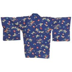 1940s Cherry Blossom Printed Japanese Silk Kimono