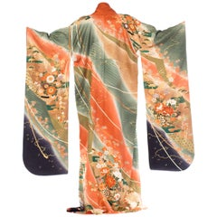 Japanese Silk Kimono With Ombré and Gold Details