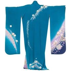 Hand Printed Japanese Silk Kimono in Teal