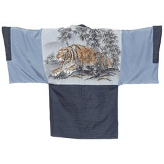Japanese Mens Kimono With Hand Printed Tiger