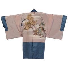 1970S Blue Japanese Silk Hand Painted Fighting Dragon Kimono