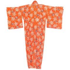 1940s Orange Silk Japanese Kimono