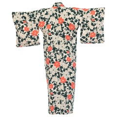 Japanese Art Deco Silk Kimono, 1930s