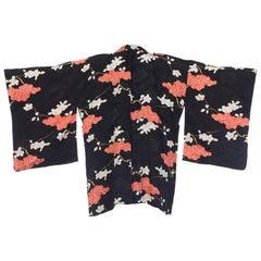 Japanese Black and White Silk Kimono, 1930s
