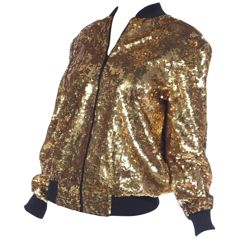 a74650102 1980s Gold Sequined Bomber Jacket