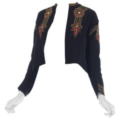 Antique Hand Embroidered Edwardian Wool Jacket