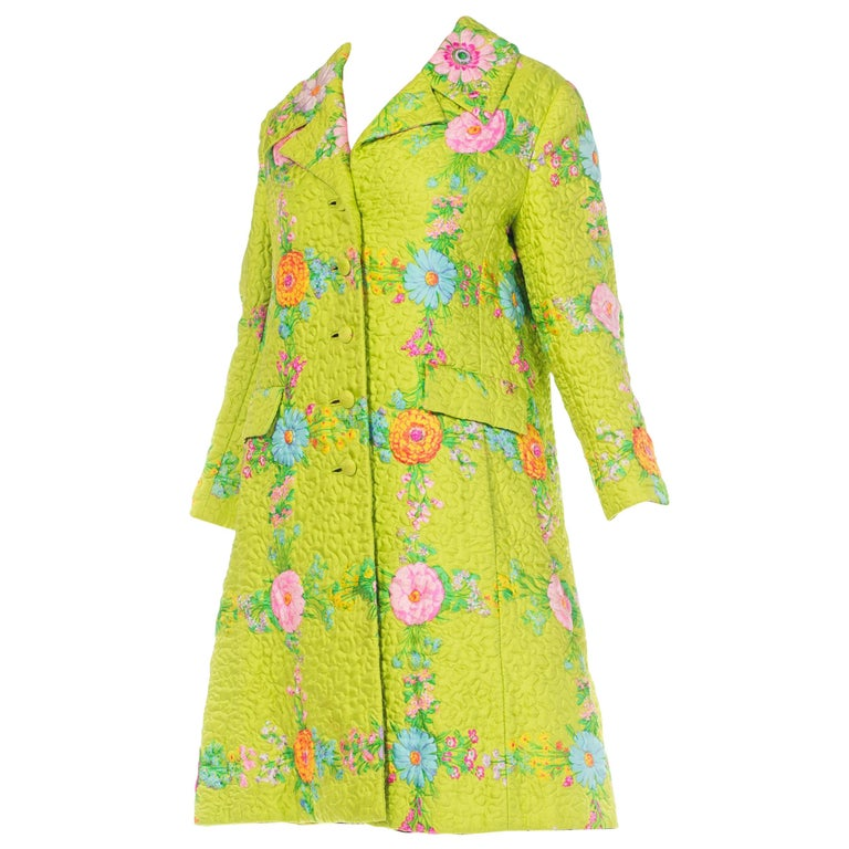 Irene Quilted Floral Silk Coat, 1960s