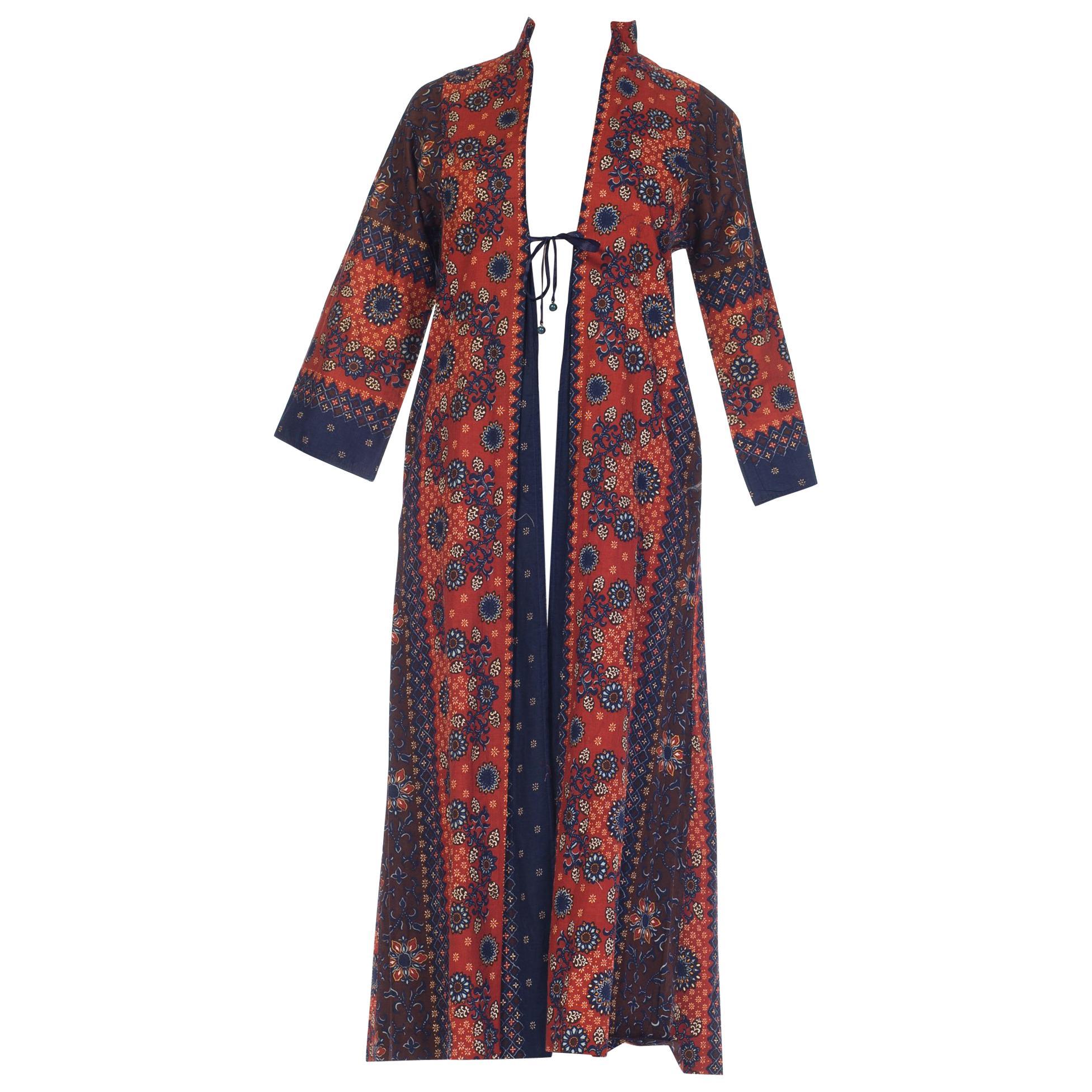 1970S I MAGNIN Brown & Blue Cotton South East Asian Batik Print Duster Kaftan