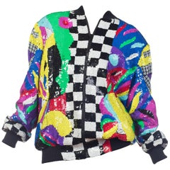 Sequin Abstract Art Bomber Jacket