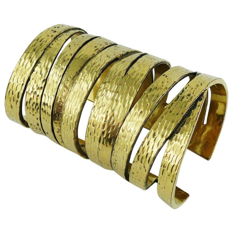 96b91a68a94 Yves Saint Laurent YSL Massive Gold Textured Cuff Bracelet For Sale ...