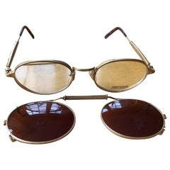 Matsuda 22 Karat Gold Plated Titanium Glasses with Clip on Sunglass 2875 Japan
