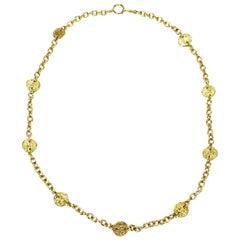 Chanel Vintage Gilt Metal Necklace