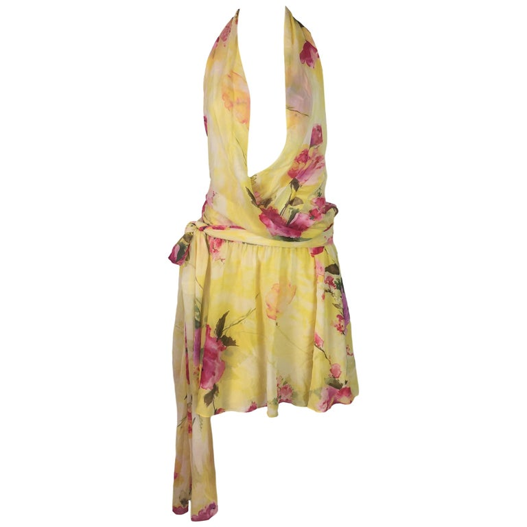 Dolce & Gabbana Plunging Yellow Silk Twenties Flapper Style Mini Dress, 1990s