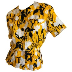 Christian Dior by Gianfranco Ferre Blossom Pattern Silk Top with Pleated Peplum