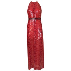 Bill Blass Red Sequin Snakeskin Print Halter Dress, 1974