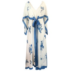 Karl Lagerfeld for Chloe Blue Floral Print Silk Print Dress and Capelet, c 1974