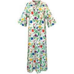 Pierre Balmain Brilliant Floral Print Thai Silk Caftan Dress, 1960s