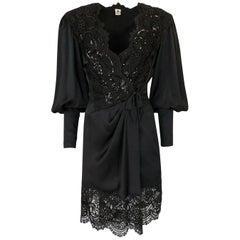 Emanuel Ungaro Black Sequin Lace and Silk Satin Dress, c1988