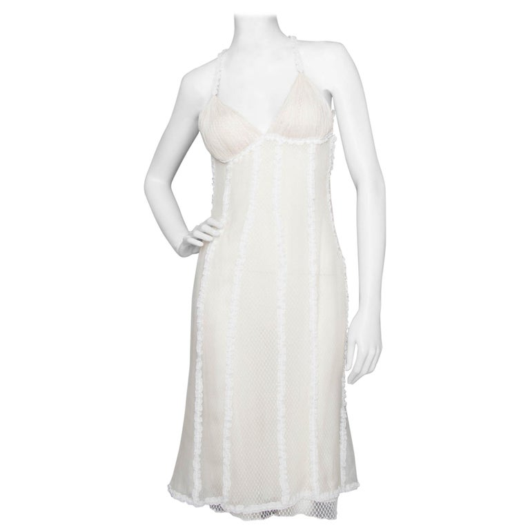 A Rare 1990s Vintage Gianni Versace Couture White Lace Dress