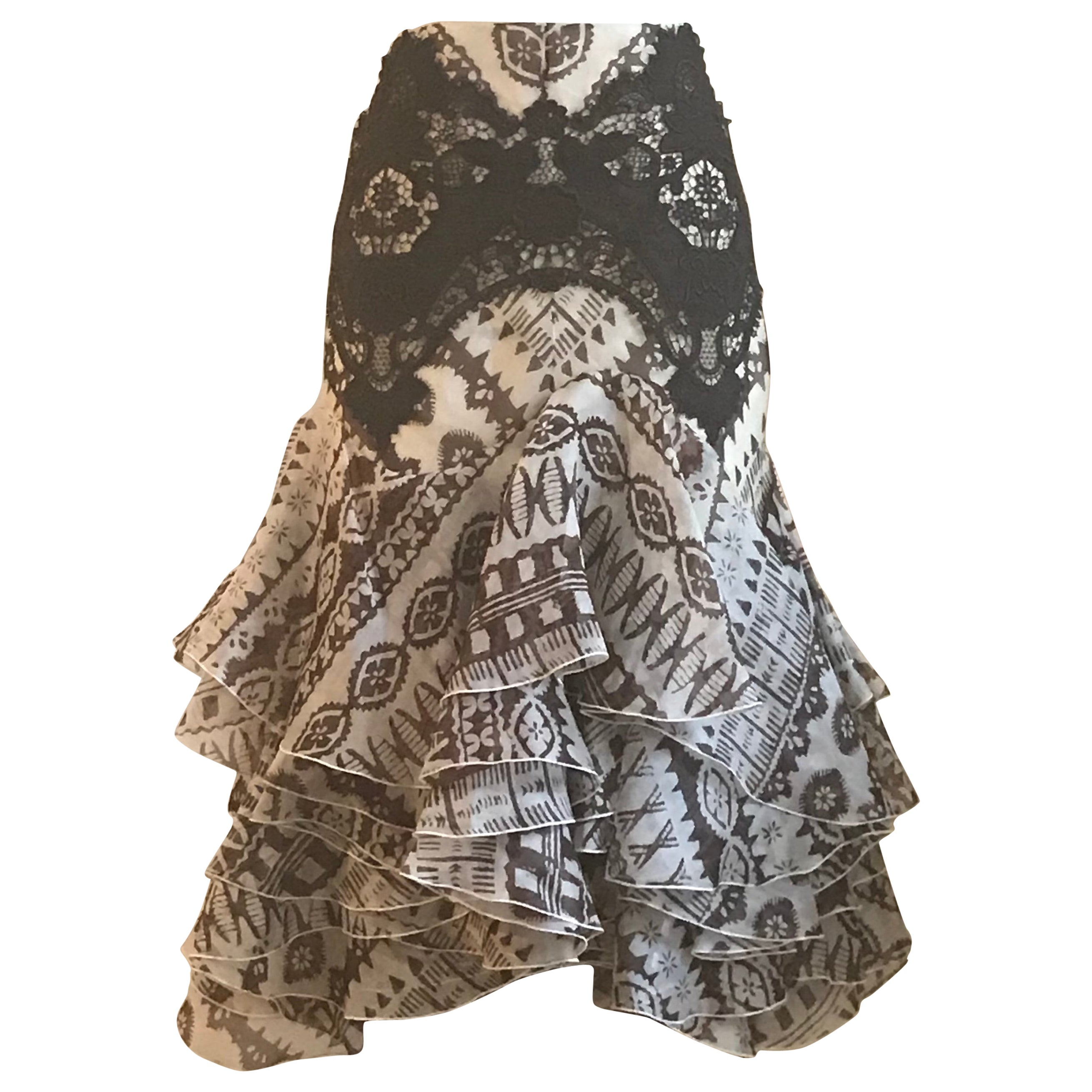 80d97cedc Alexander McQueen Brown and Cream Lace Trimmed Ruffle Skirt at 1stdibs
